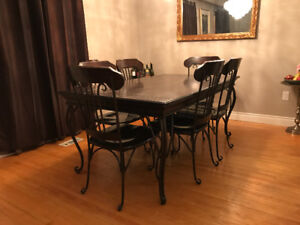 Entire Dining and Living Set-- solid wood and iron