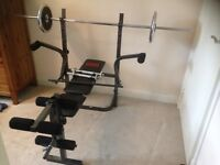 Pro power weights bench with extras
