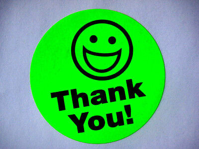 500 Big Thank You Smiley Label Stickers Green