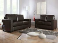 Grand Box Black Faux Leather 3 2 Seater Sofa Sette