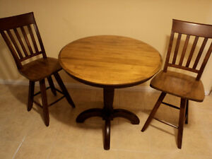 Bistro or pub kitchen table with two chairs
