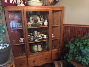 Antique corner hutch