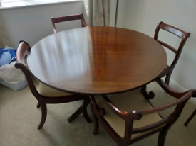 Mahogany inlaid round pedestal table and 4 chairs
