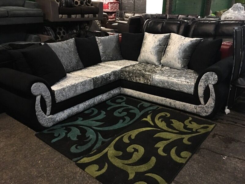 Black Silver Crushed Velvet Corner Sofa 8ft X 8ft 5-6 Seater 240 X 240