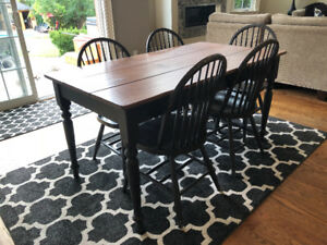 Farm table and 5 chairs