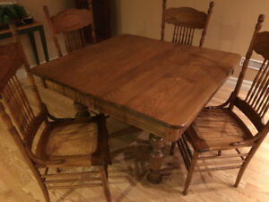 Antique Solid Oak Dining Set - Table and 4 Press Back Chairs