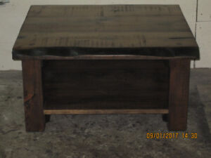 "BARNWOOD COFFEE TABLE WITH 2"" LIVE EDGE TOP"