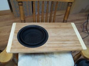 Wooden Cutting Board With Silicon Bowel Strainer.