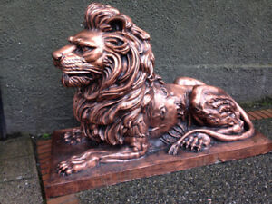 Lions Copperplated Large Indoor Outdoor $5000 for pair
