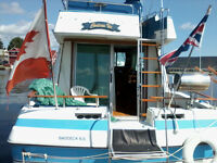 Reduced 33ft Yacht White with Blue stripe