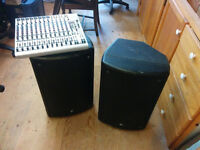 Yorkville NX250P Speakers, Behringer 12-channel mixer