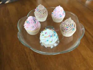 Cupcakes and Covered Cake Plate