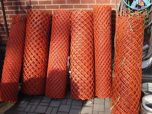 Orange plastic livestock or snow fence 4 rolls