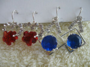 2PAIR PIERCED DANGLE EAR RINGS with RUBY / SAPPHIRE GEMSTONES