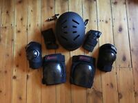 Skating / skateboarding helmet and knee / elbow pads / protectors for adult