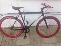 Single speed fixed gear bike with helmet, locks and accessories!
