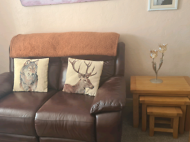 Ox blood leather recliner settees
