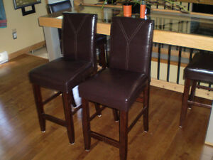 4 Leather Bar/Table Chairs