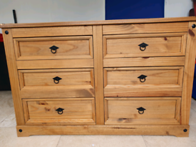 Solid light oak sideboard with 6 drawers