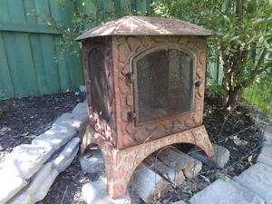 Beautiful Bronze Outdoor Wood Burning Fireplace - PRICE REDUCED!
