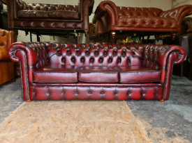 Chesterfield Oxblood 3 Seater Sofa Bed