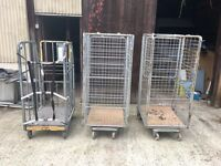 3 x LARGE METAL STORAGE CAGES ON CASTOR WHEELS - Trolley warehouse industrial retail stock container