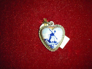 Nice Vintage Silver and Delft Heart Charm or Pendant