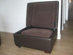Dark Brown Leather Ottoman/chair