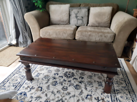 Solid Indian Dark Wood/Cast iron Coffee table