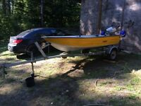 12 ft duroboat with 5 horse Honda and trailer