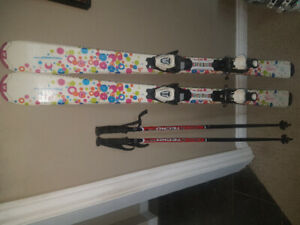 Girls ski boots bindings poles