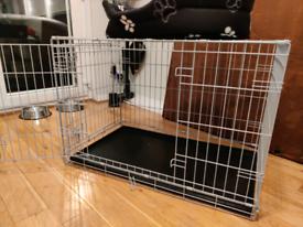 Medium Double Door Dog Cage - Grey