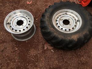 4 26x10 5-12 aluminum artic cat atv rims with 3 tires for sale