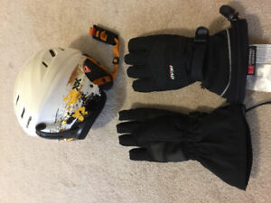 Skiing helmet and gloves