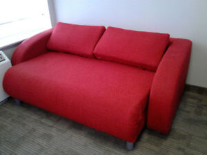 Furniture: New Designer's  Bright Red Sofa Bed  $ 580