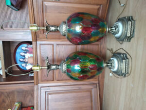 Antique style stain glass, brass lamps