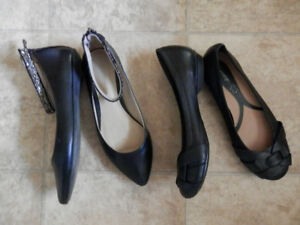 Lot of little worn shoes (flats, heels and sneakers)