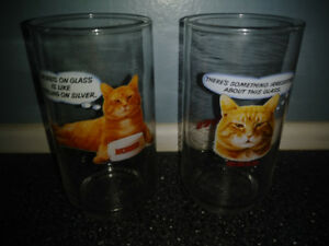 TWO VINTAGE MORRIS THE CAT DRINKING GLASSES 80'S LIKE NEW
