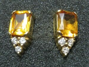 Yellow Topaz Diamond Earrings
