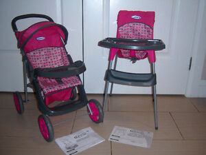 GRACO DOLL STROLLER AND MATCHING GRACO DOLL HIGH CHAIR