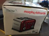 Morphy Richards dark red 4 slice toaster