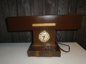 antique desk top lamp with clock