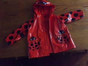 Size 2T Ladybug rain jacket with fleece lining