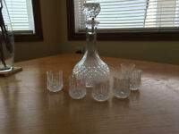 crstal d'arque decanter with 6 shot glasses