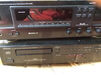Denon stereo (cassette deck, CD player, radio /amp) with Arcam speakers.