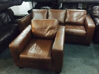 As new brown leather 3 and 1 sofa set