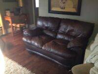 REAL SET OF LEATHER COUCH AND LOVE SEAT
