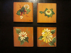Beautiful Hand Painted Coasters - Set of 4