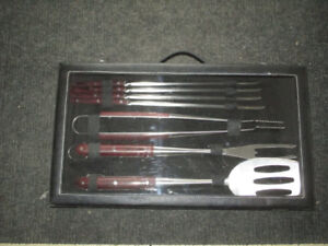 BBQ set stainless steel with wood handles