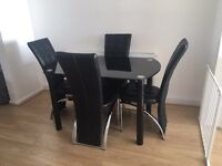 Black Glitter Glass Table & Chairs